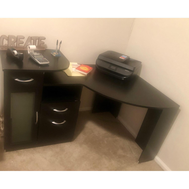Ikea Black Corner Desk w/ Drawers - image-2
