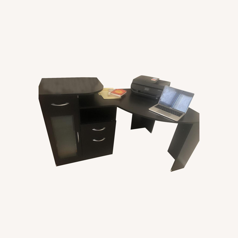 Ikea Black Corner Desk w/ Drawers - image-0