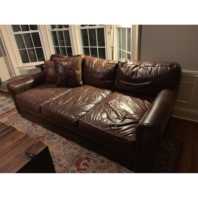 Restoration Hardware Lancaster Italian Leather Sofa - image-1