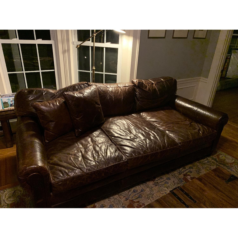 Restoration Hardware Lancaster Italian Leather Sofa - image-2
