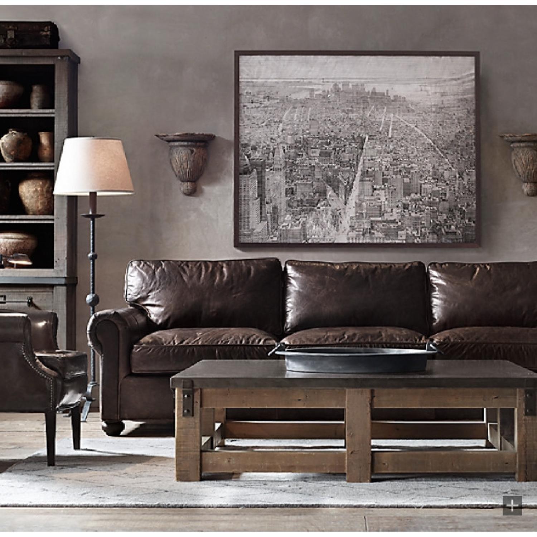 Restoration Hardware Lancaster Italian Leather Sofa - image-4