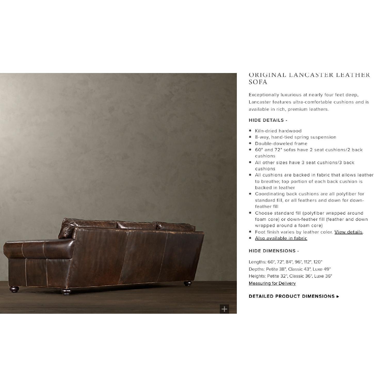 Restoration Hardware Lancaster Italian Leather Sofa - image-5