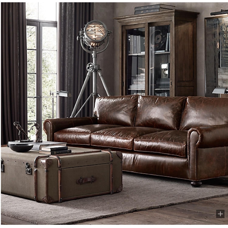 Restoration Hardware Lancaster Italian Leather Sofa - image-6