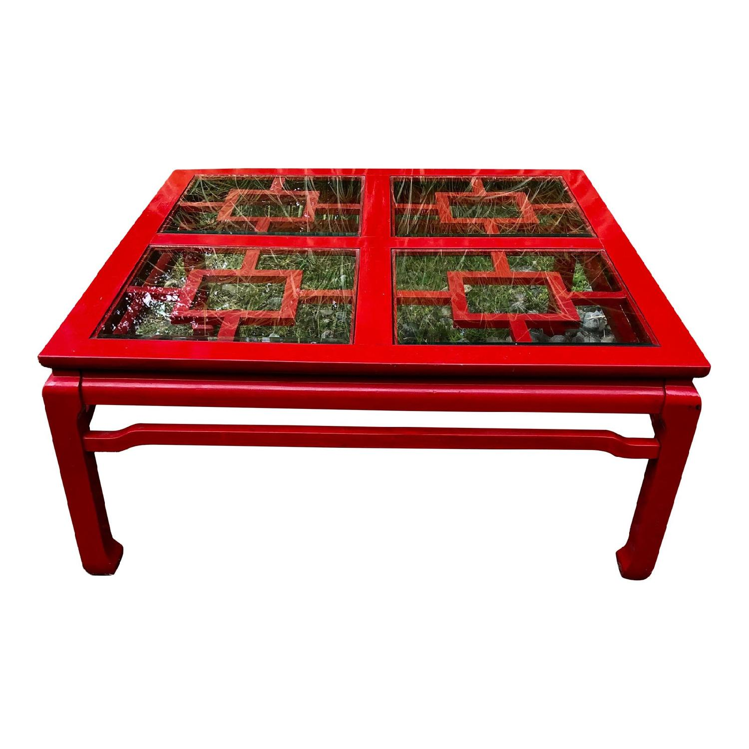 Mid Century Chinoiserie Asian Glass Top Coffee Table - image-0