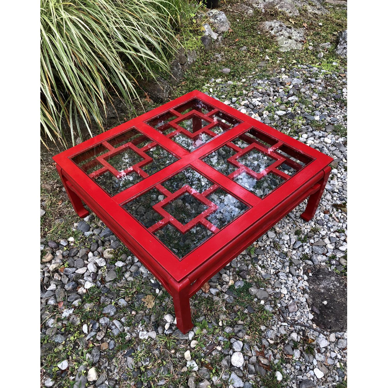 Mid Century Chinoiserie Asian Glass Top Coffee Table - image-1