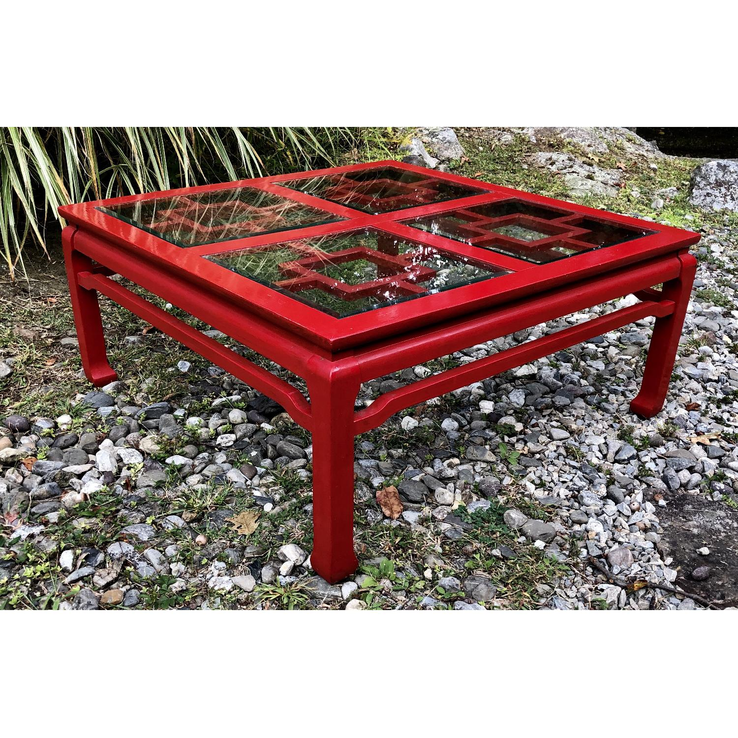 Mid Century Chinoiserie Asian Glass Top Coffee Table - image-2