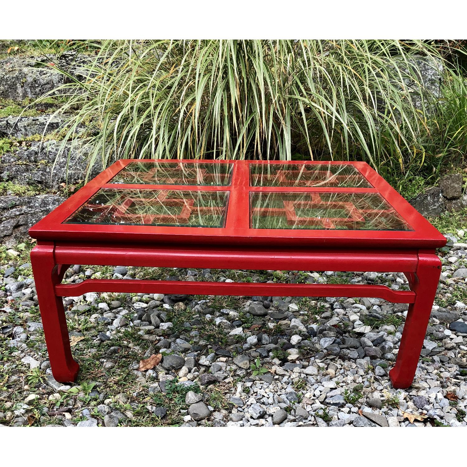 Mid Century Chinoiserie Asian Glass Top Coffee Table - image-3
