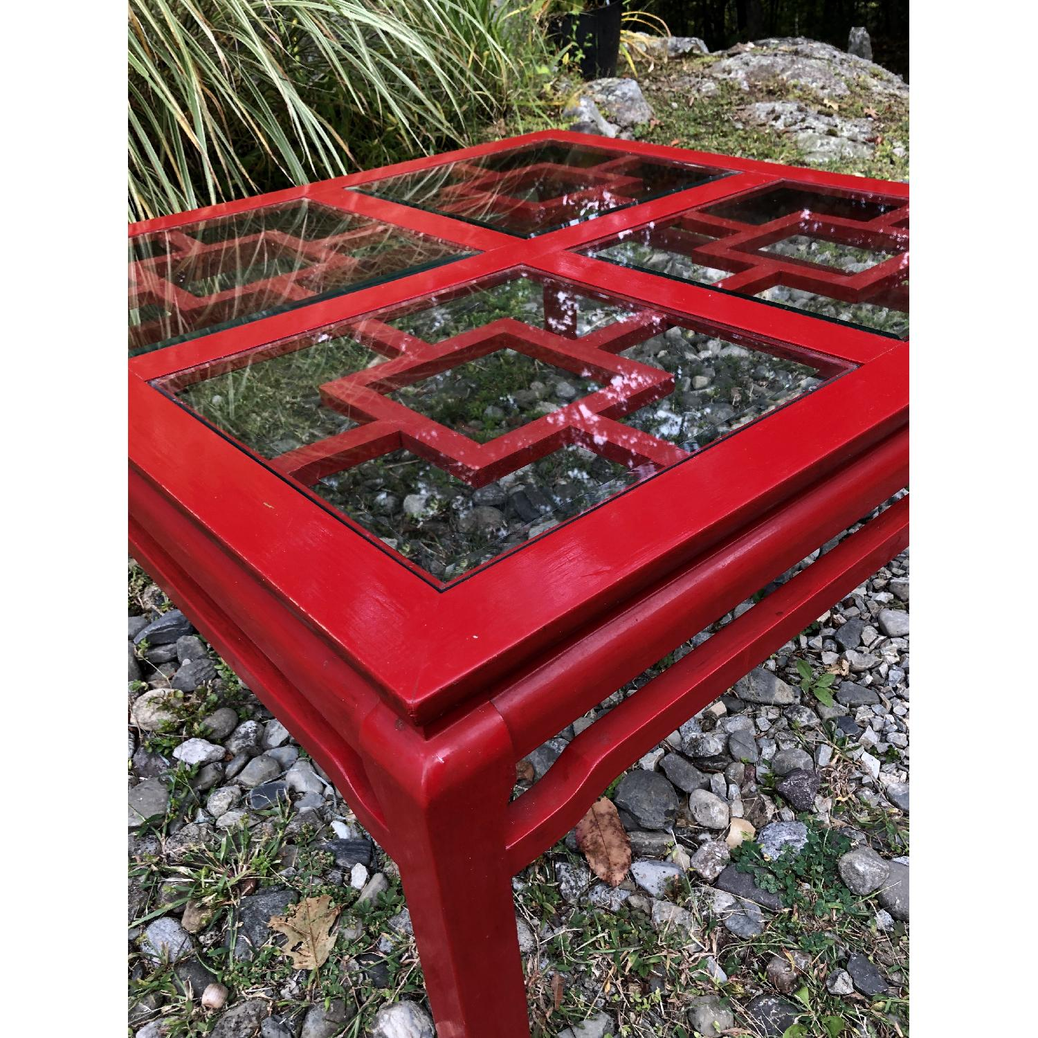 Mid Century Chinoiserie Asian Glass Top Coffee Table - image-4