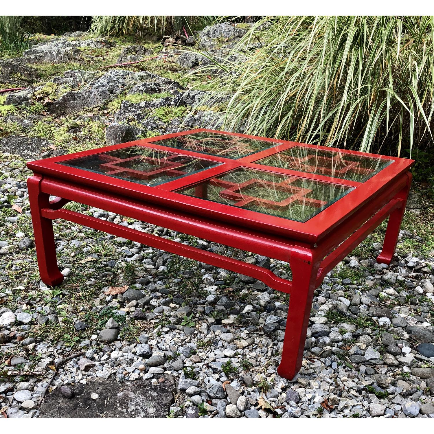 Mid Century Chinoiserie Asian Glass Top Coffee Table - image-5