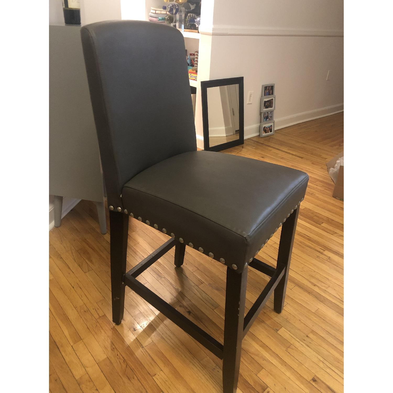 Grey Faux Leather Barstools - image-3