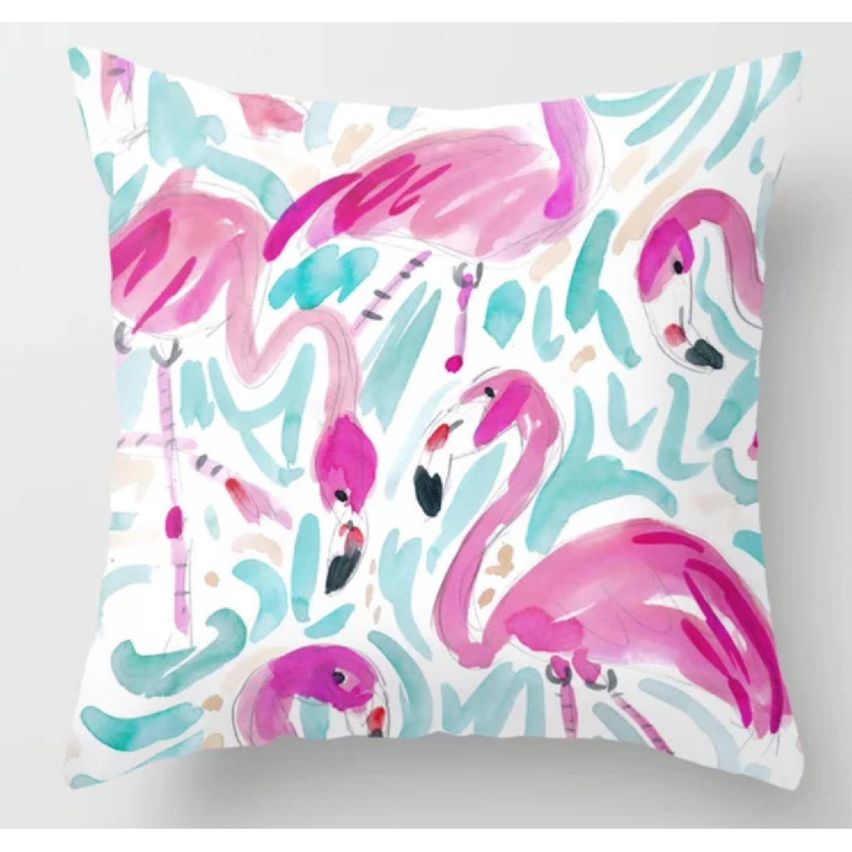 Barbarian by Barbra Ignatiev Pink Flamingos Throw Pillows - image-1