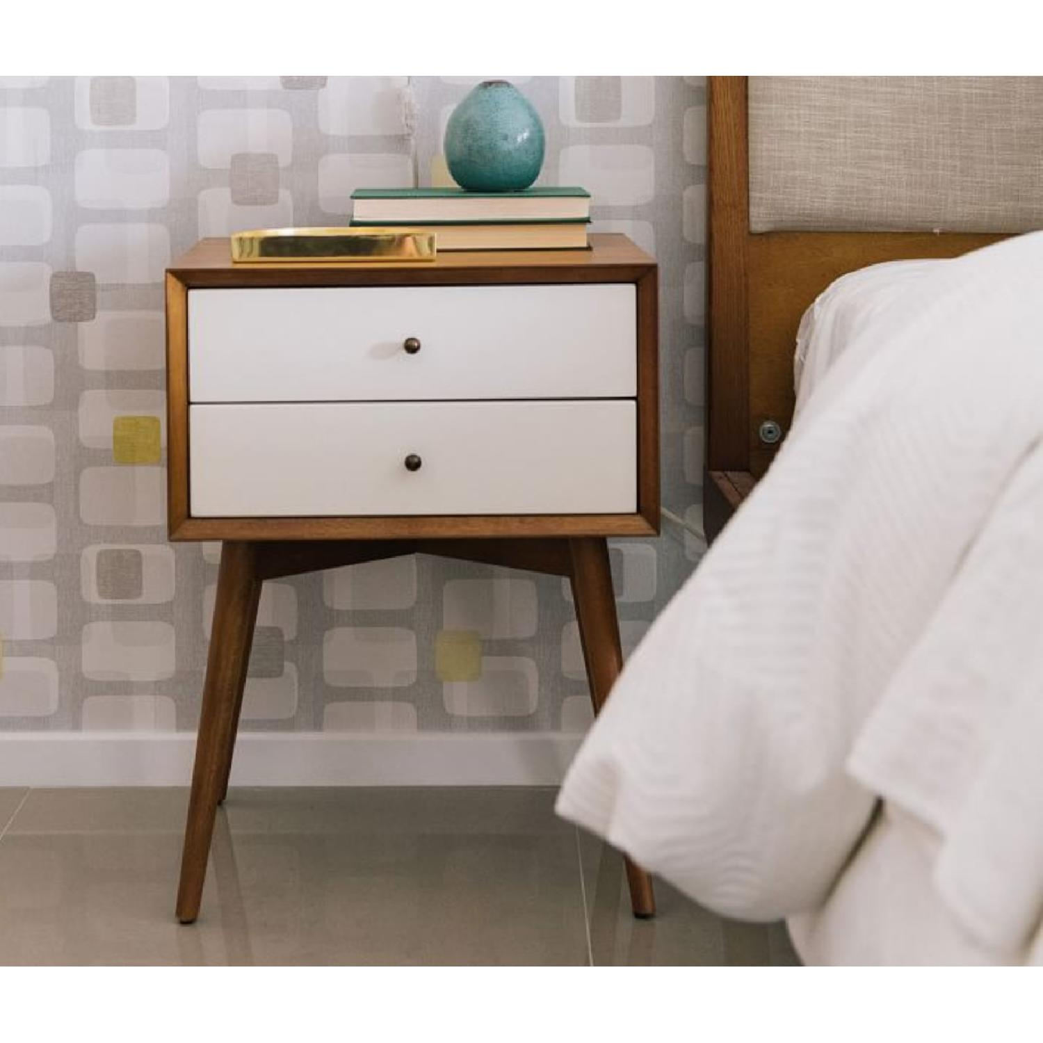 West Elm Mid-Century Nightstand in White Lacquer/Acorn - image-1