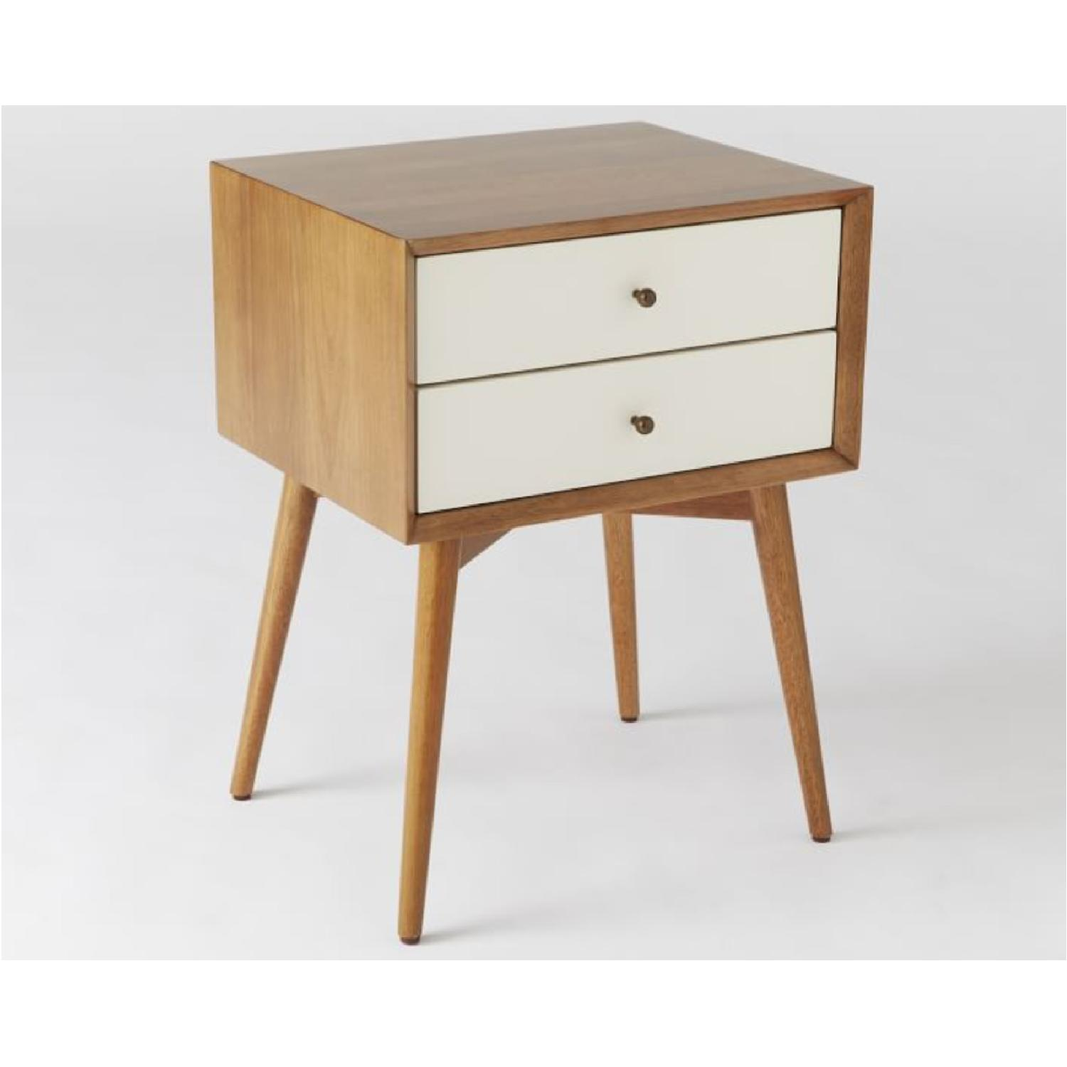 West Elm Mid-Century Nightstand in White Lacquer/Acorn - image-2