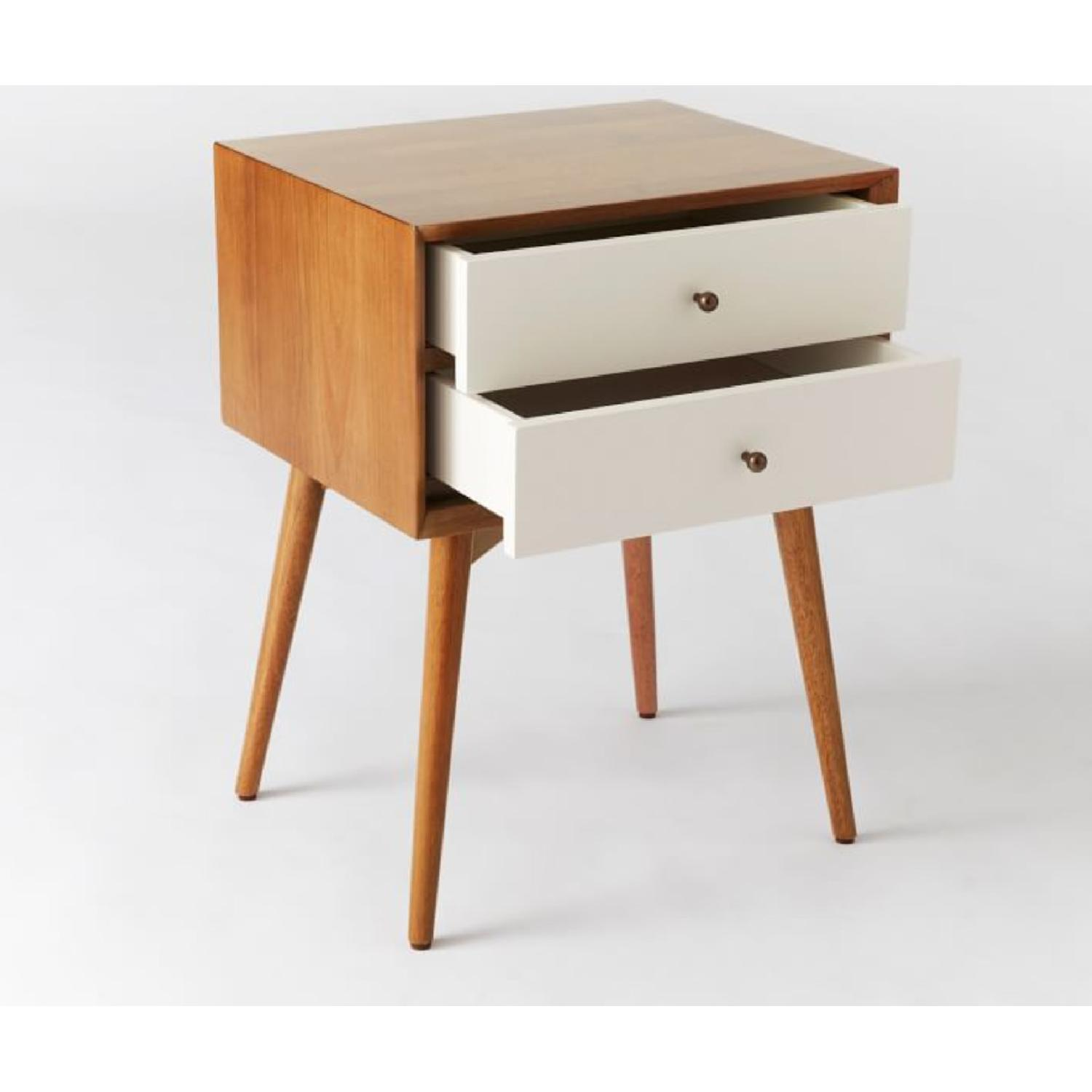 West Elm Mid-Century Nightstand in White Lacquer/Acorn - image-3