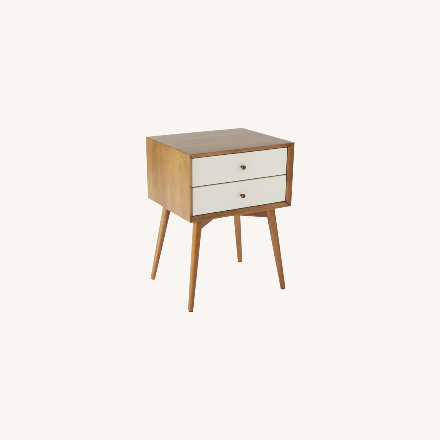 West Elm Mid-Century Nightstand in White Lacquer/Acorn - image-0