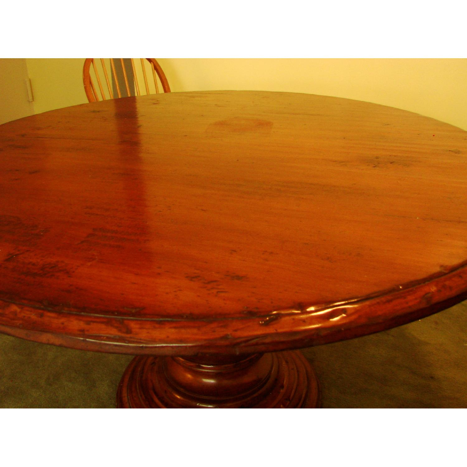 Distressed Wood Round Dining Table - image-1