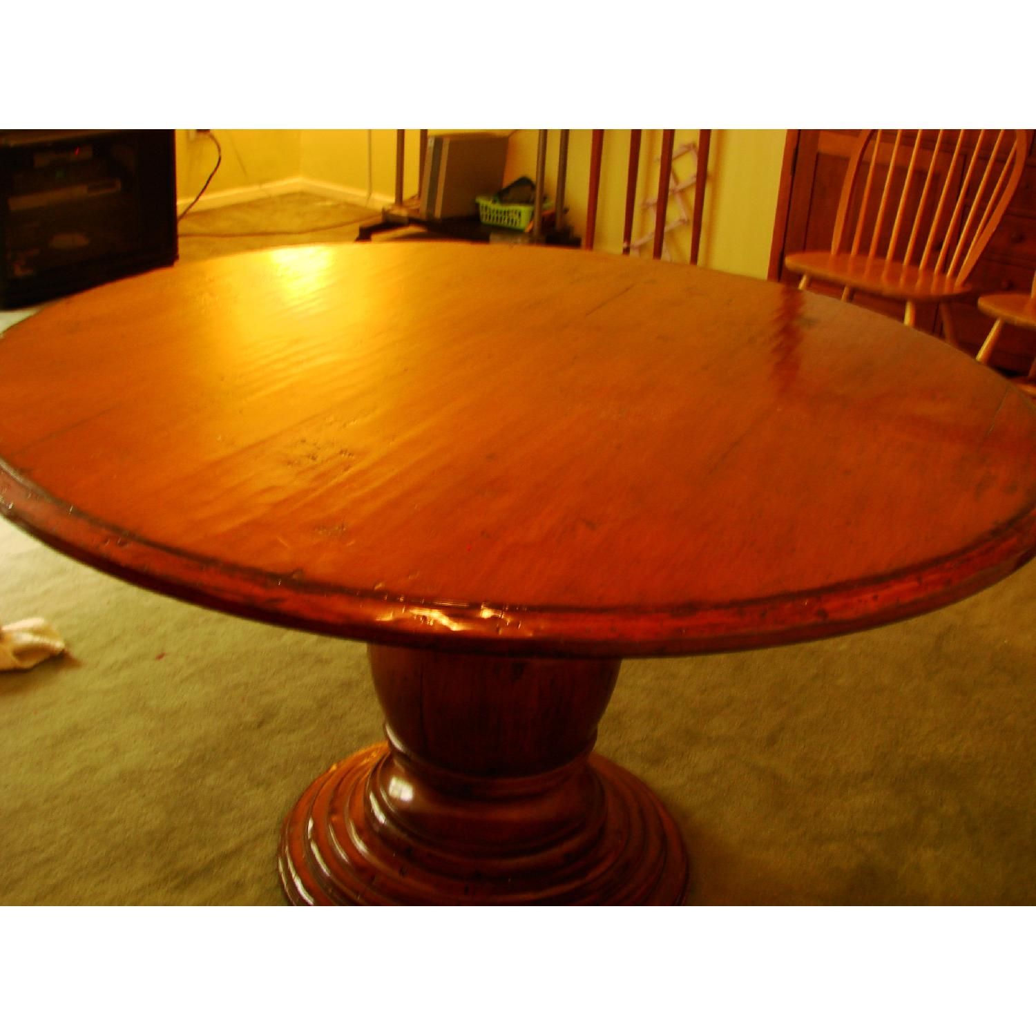 Distressed Wood Round Dining Table - image-4