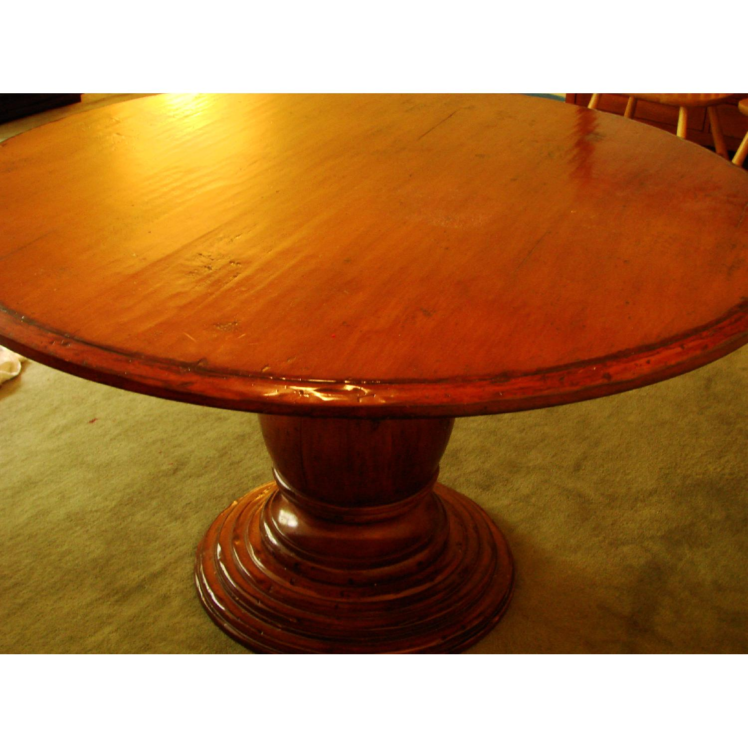 Distressed Wood Round Dining Table - image-5