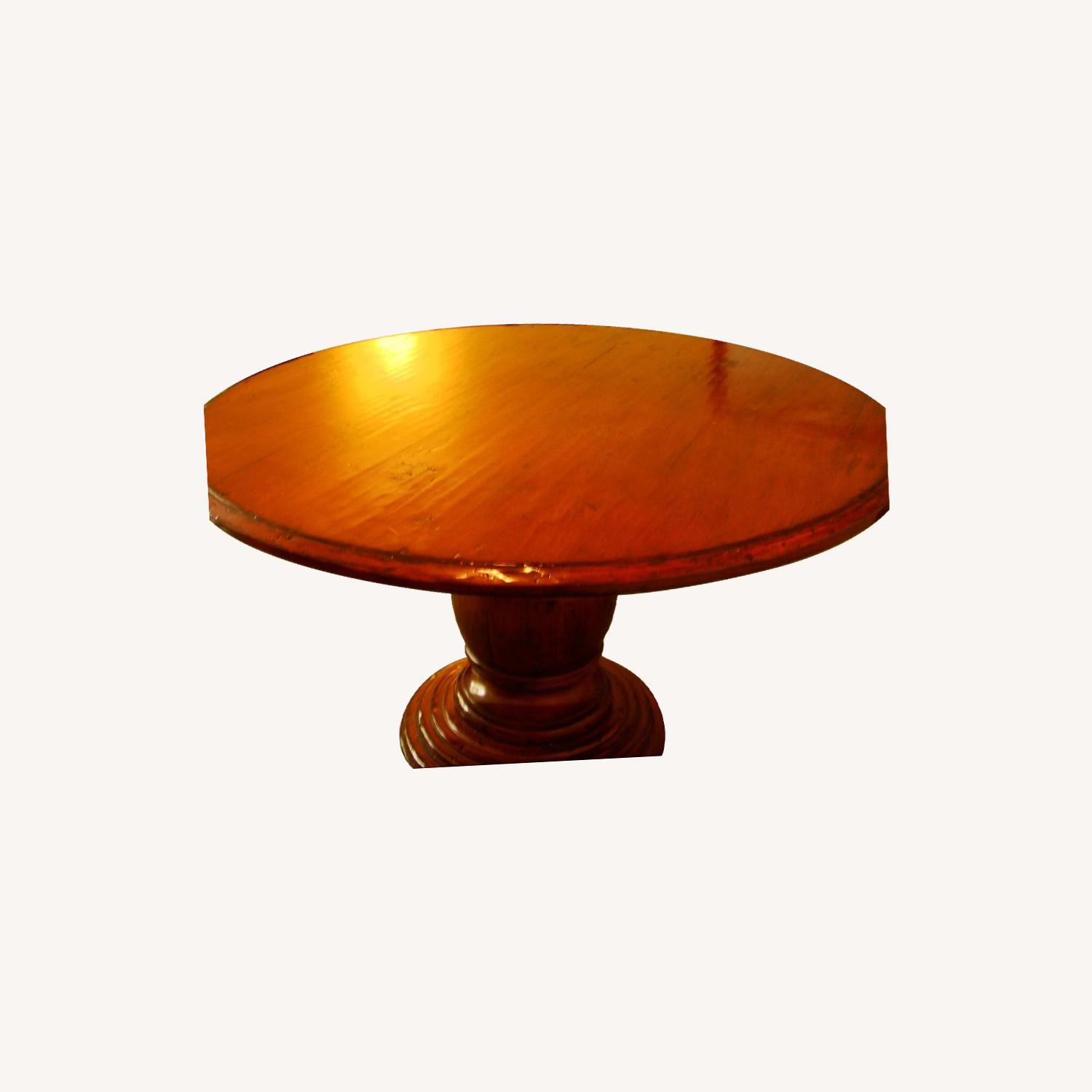 Distressed Wood Round Dining Table - image-0