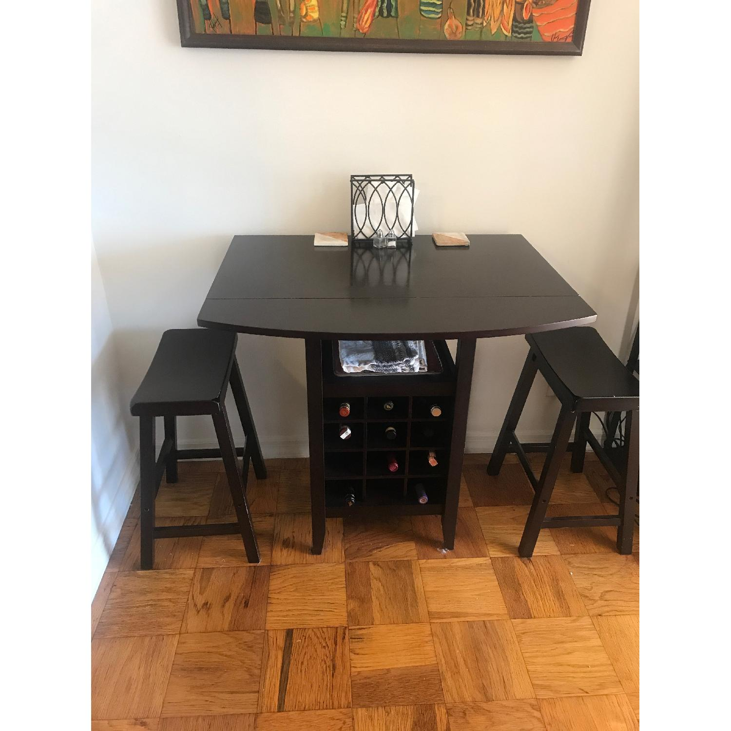 Baxton Studio 3-Piece Drop-Leaf Dining Set w/ Wine Rack - image-1
