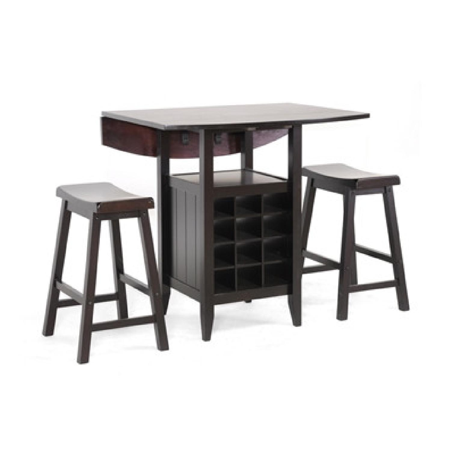 Baxton Studio 3-Piece Drop-Leaf Dining Set w/ Wine Rack - image-0