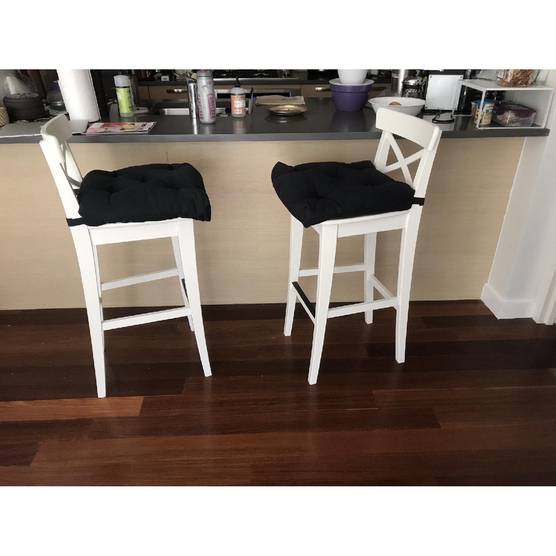 Ikea Ingolf Bar Stools w/ Backrest & Cushions - image-1
