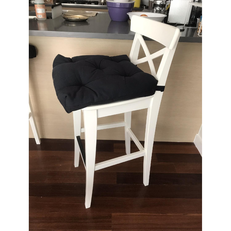 Ikea Ingolf Bar Stools w/ Backrest & Cushions - image-2
