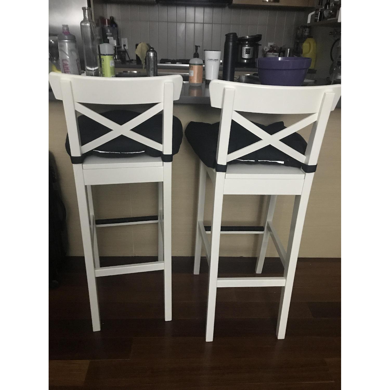 Ikea Ingolf Bar Stools w/ Backrest & Cushions - image-3