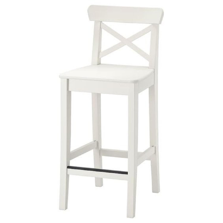 Ikea Ingolf Bar Stools w/ Backrest & Cushions - image-0