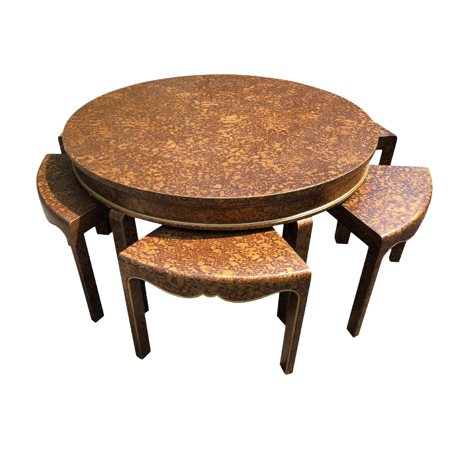 Chinoiserie Chic Tea/Opium Table w/ 6 Seats - image-0