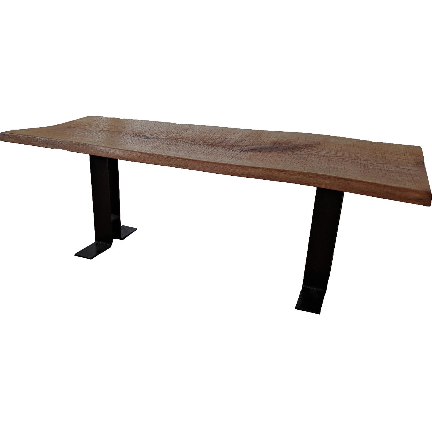 Handmade Oak Dining Table w/ 2 Matching Benches - image-1