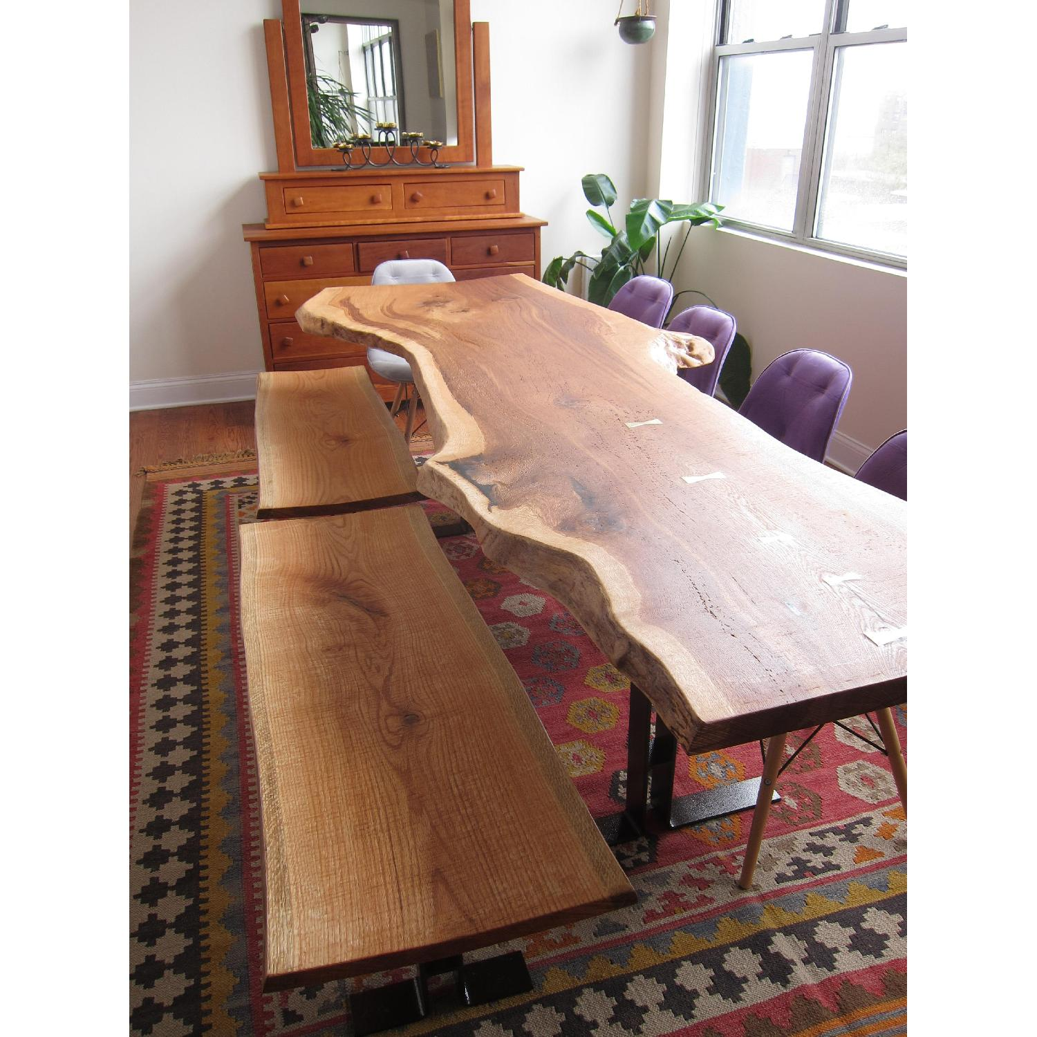 Handmade Oak Dining Table w/ 2 Matching Benches - image-7