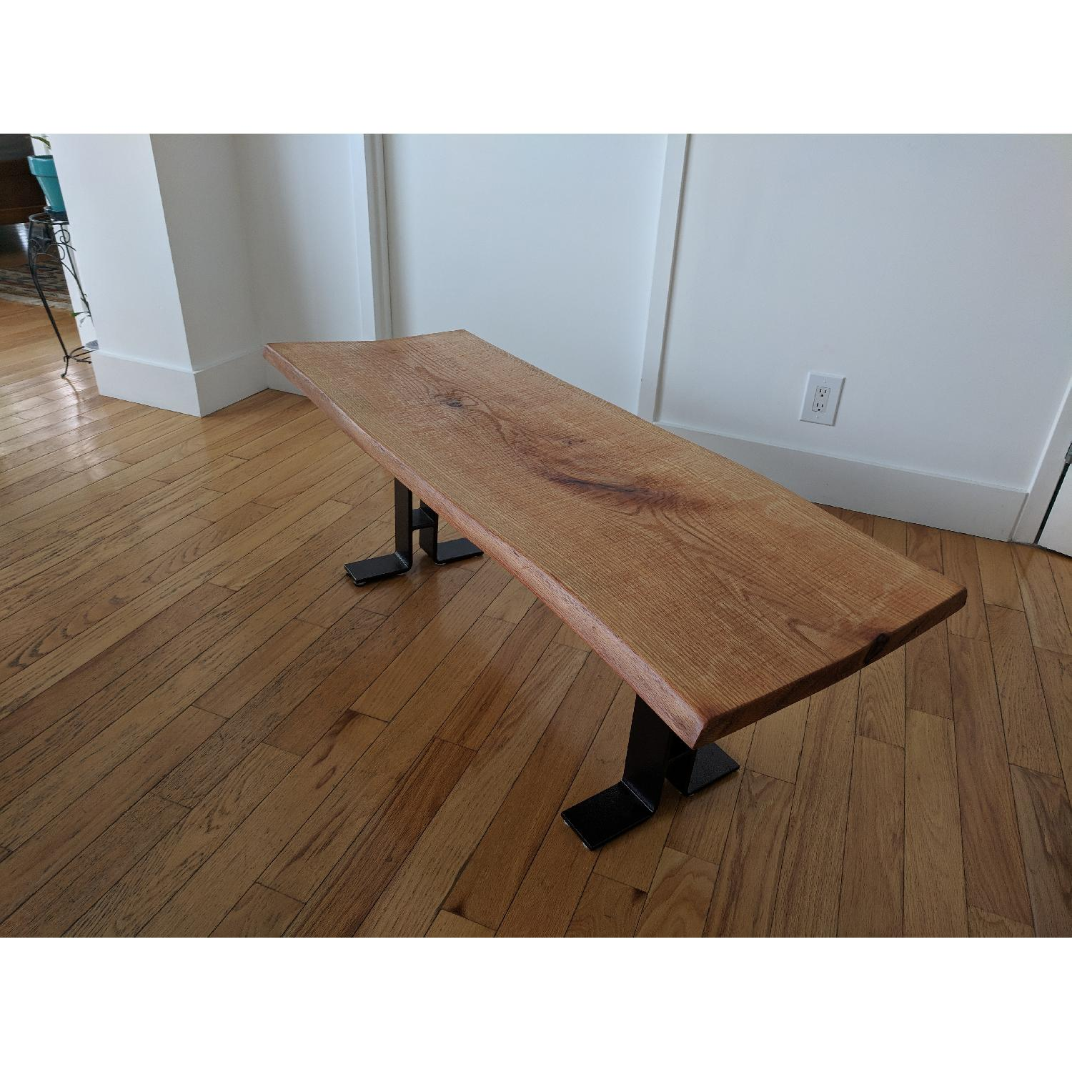 Handmade Oak Dining Table w/ 2 Matching Benches - image-8