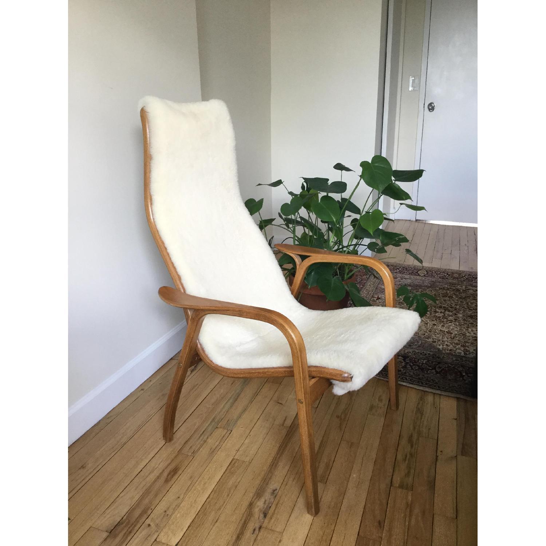 Teak & Sherpa Mid Century Chair - image-1