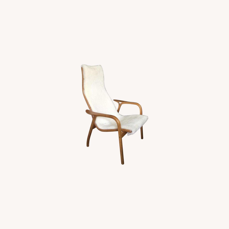 Teak & Sherpa Mid Century Chair - image-0