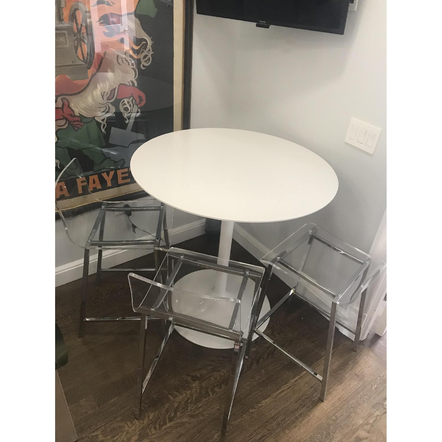 White Round Bar Table w/ 3 Clear Chairs - image-2