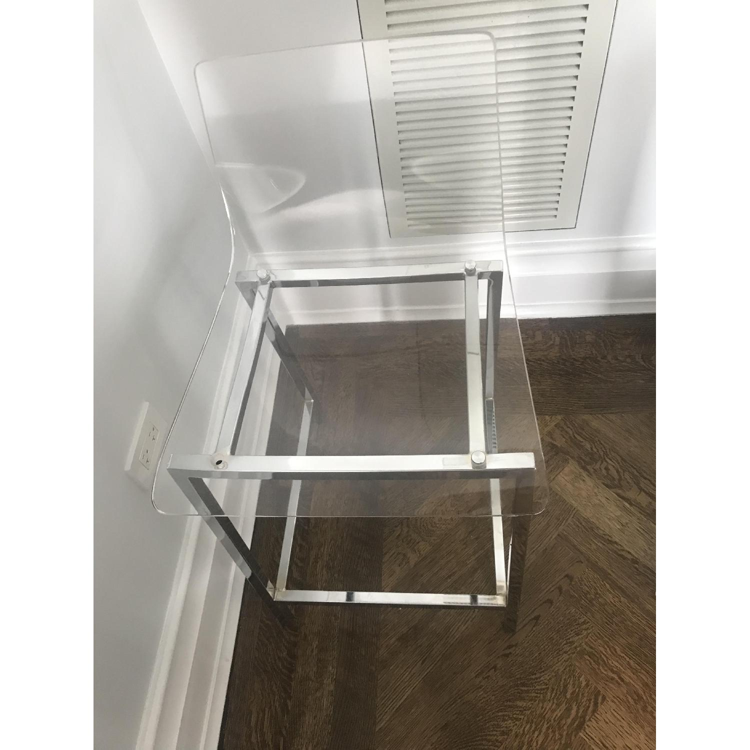 White Round Bar Table w/ 3 Clear Chairs - image-1