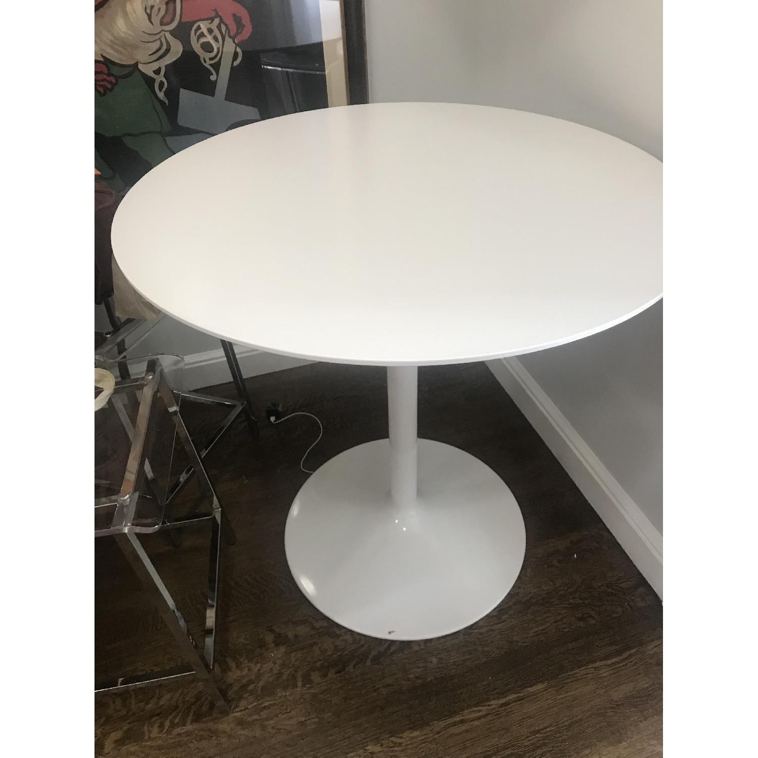White Round Bar Table w/ 3 Clear Chairs - image-3