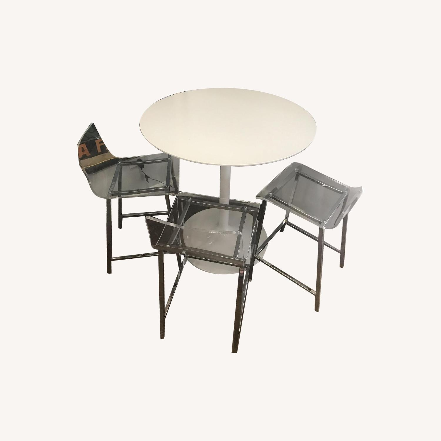 White Round Bar Table w/ 3 Clear Chairs - image-0