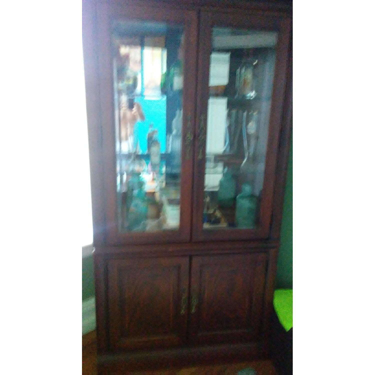 Lighted Wood & Glass China Cabinet - image-2