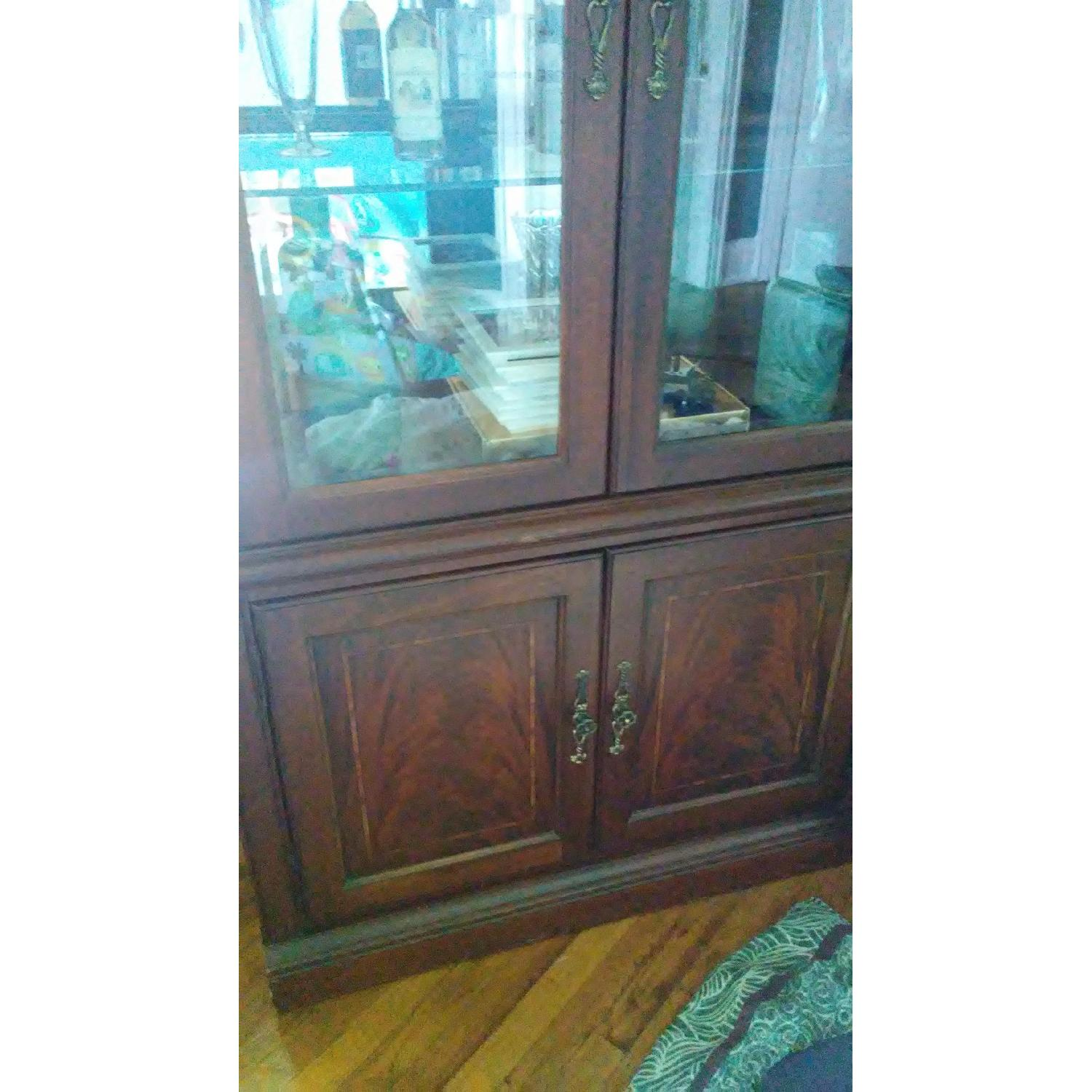 Lighted Wood & Glass China Cabinet - image-5