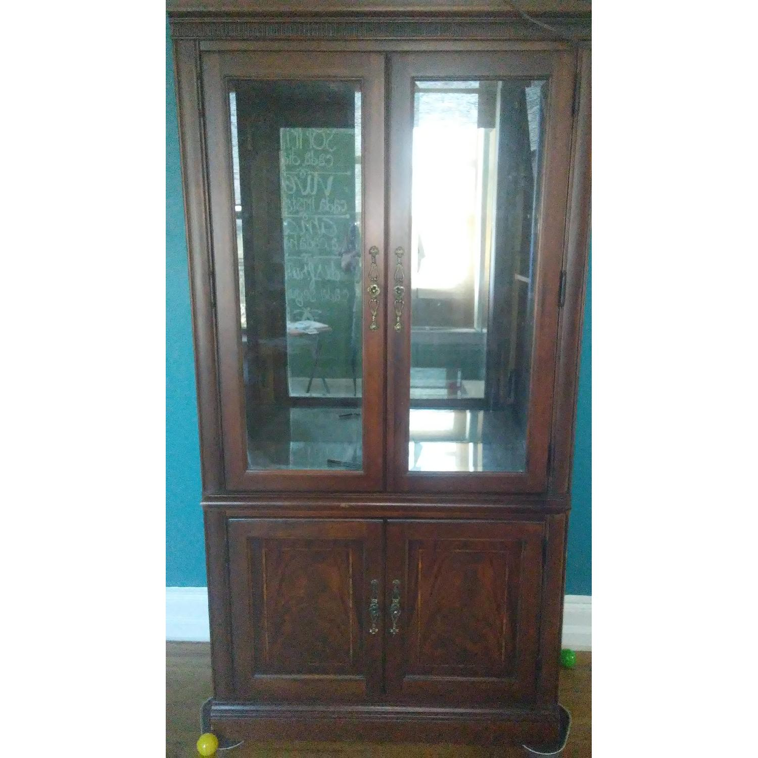 Lighted Wood & Glass China Cabinet - image-0