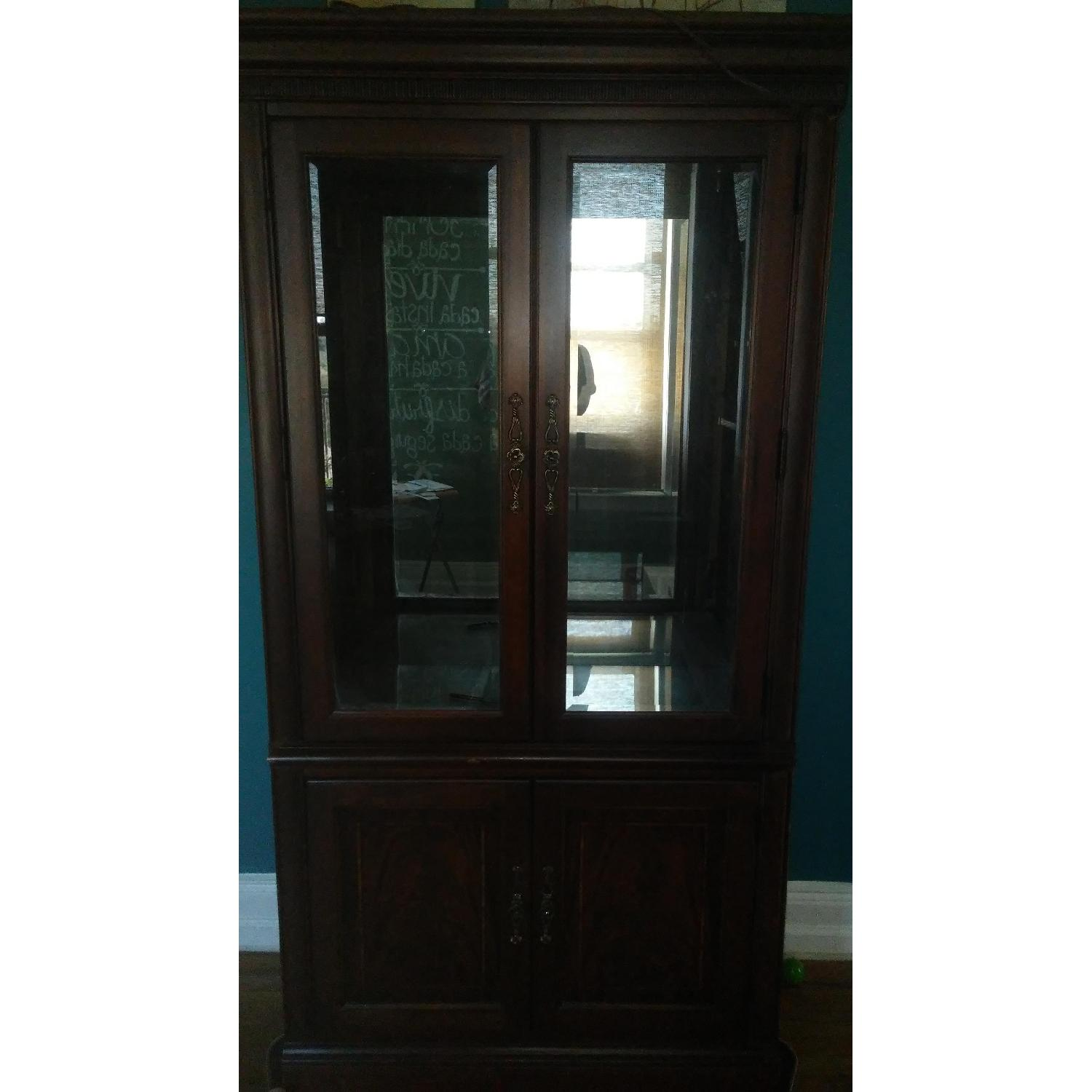 Lighted Wood & Glass China Cabinet - image-12