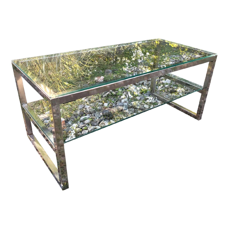 Vintage Chrome and Glass Coffee Table Baughman Era - image-0