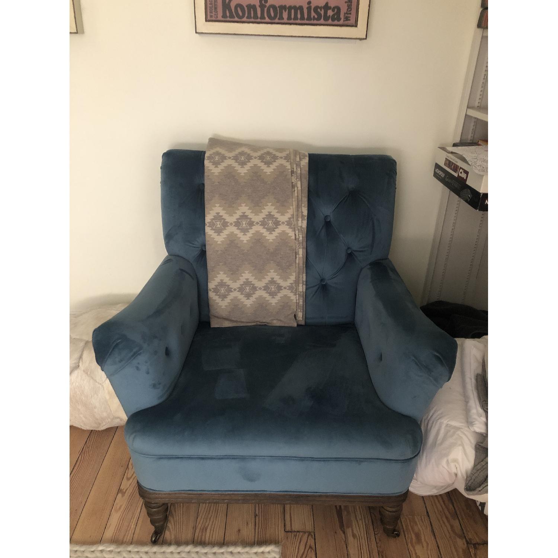 Everly Quinn Botsford Royal Blue Armchair - image-1