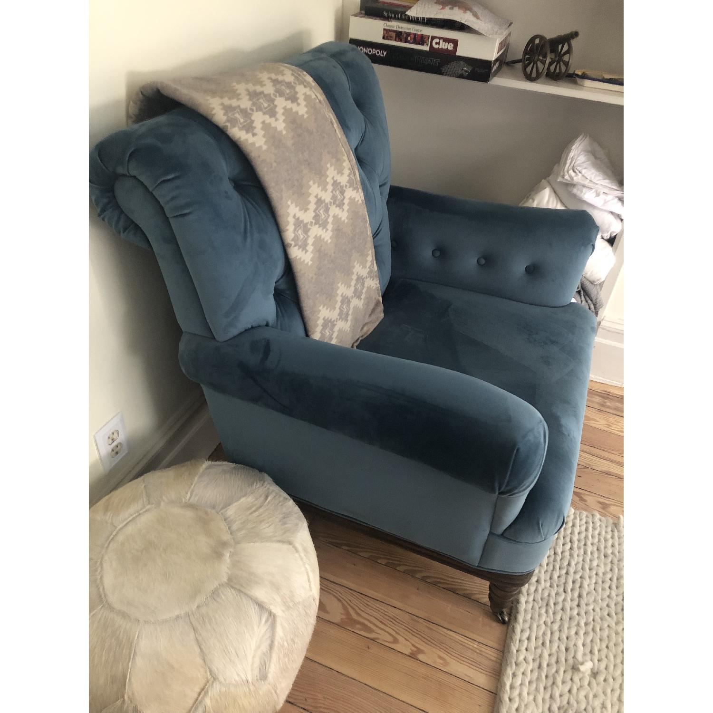 Everly Quinn Botsford Royal Blue Armchair - image-3