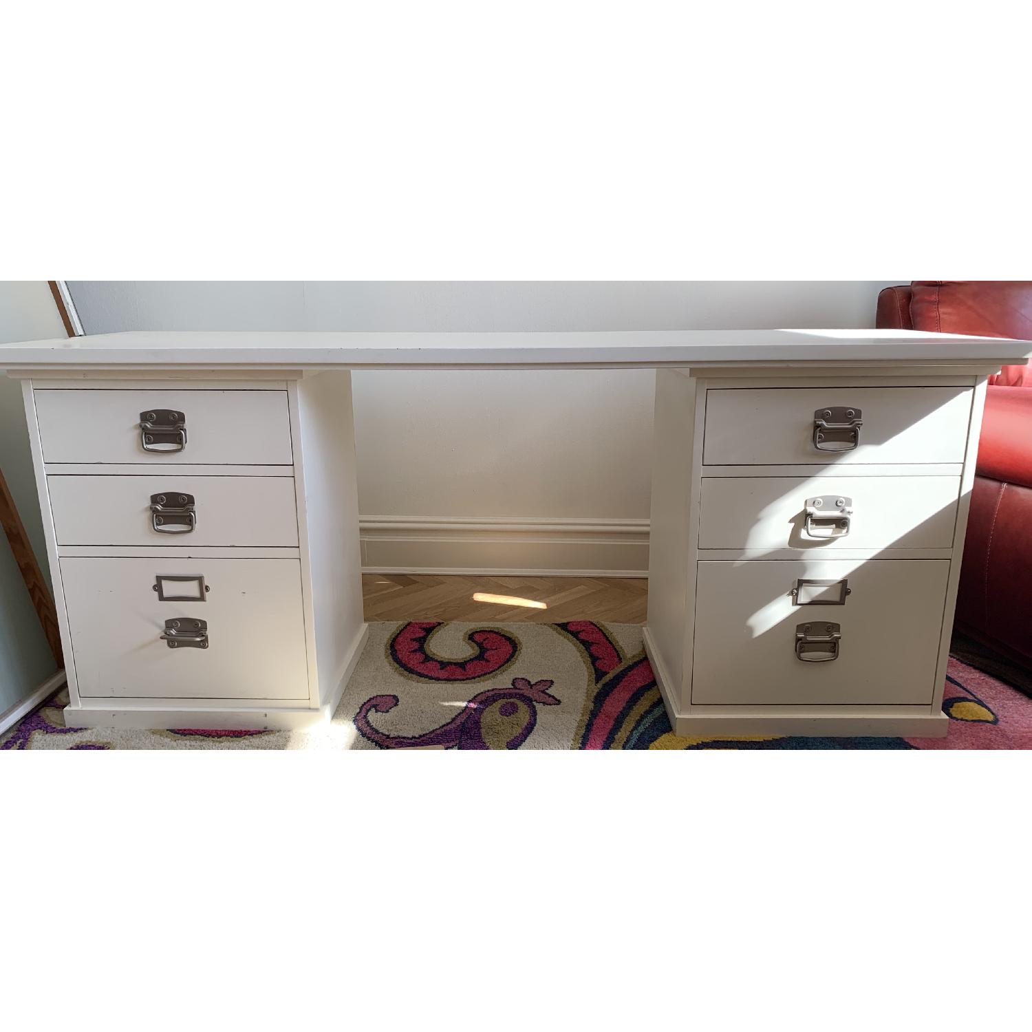 Wood Desk w/ Two 3 Drawer File Cabinets - image-1
