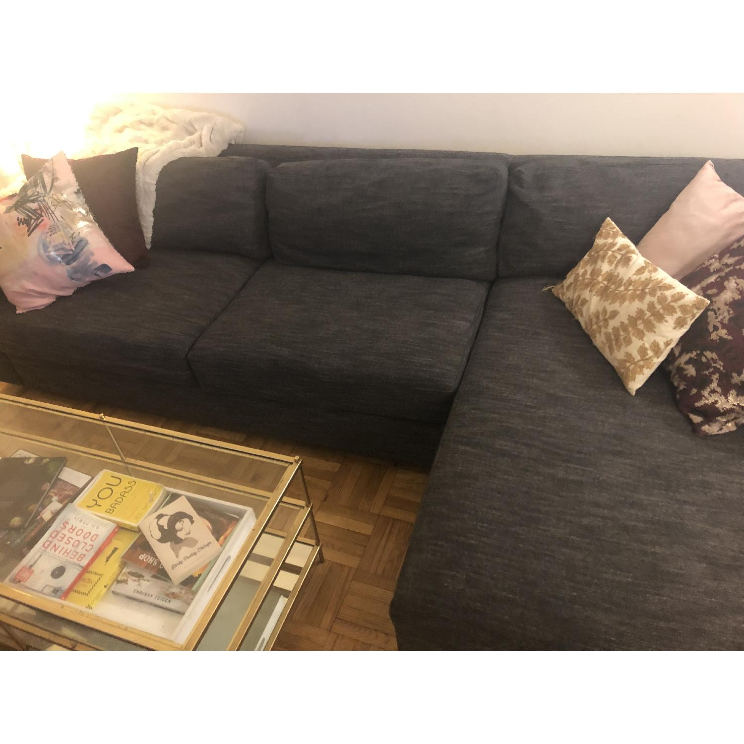 West Elm Urban 2 Piece Large Sectional in Heathered Tweed - image-4