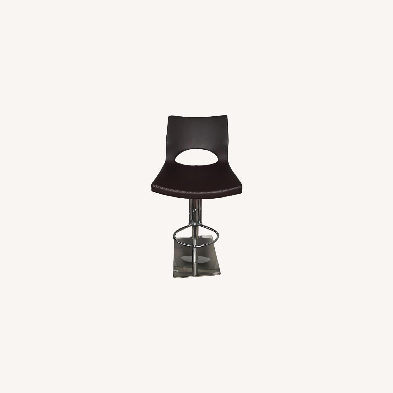 Faux Leather Adjustable Height Barstool - image-0