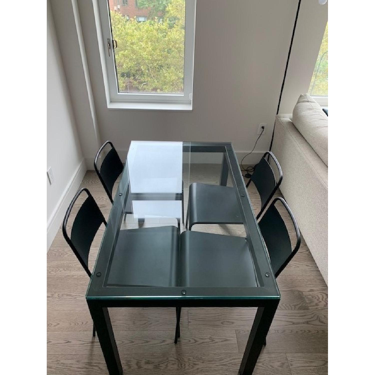 Crate & Barrel Glass Dining Table w/ 4 Chairs - image-2